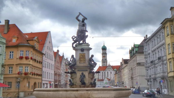 Augsburg_Hercules Fountain & St. Ulrich and St. Afra Basilica
